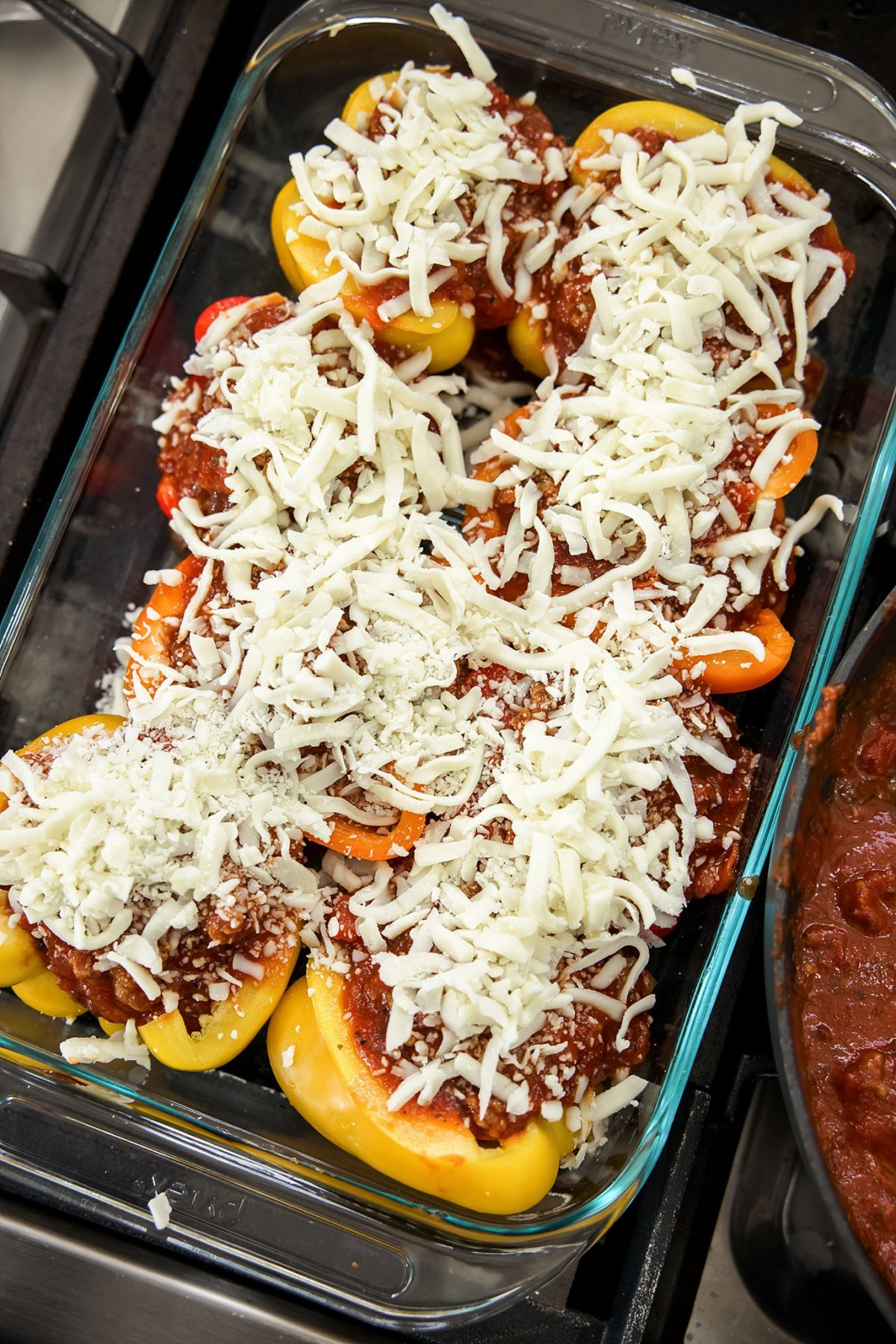 pizza stuffed peppers ready for the oven