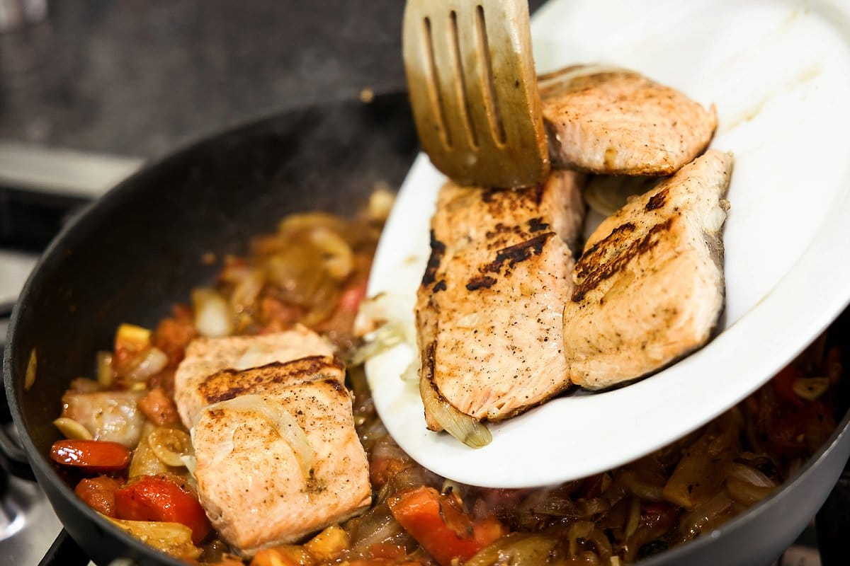 Sautéed Salmon with White Wine, Tomatoes and Onions