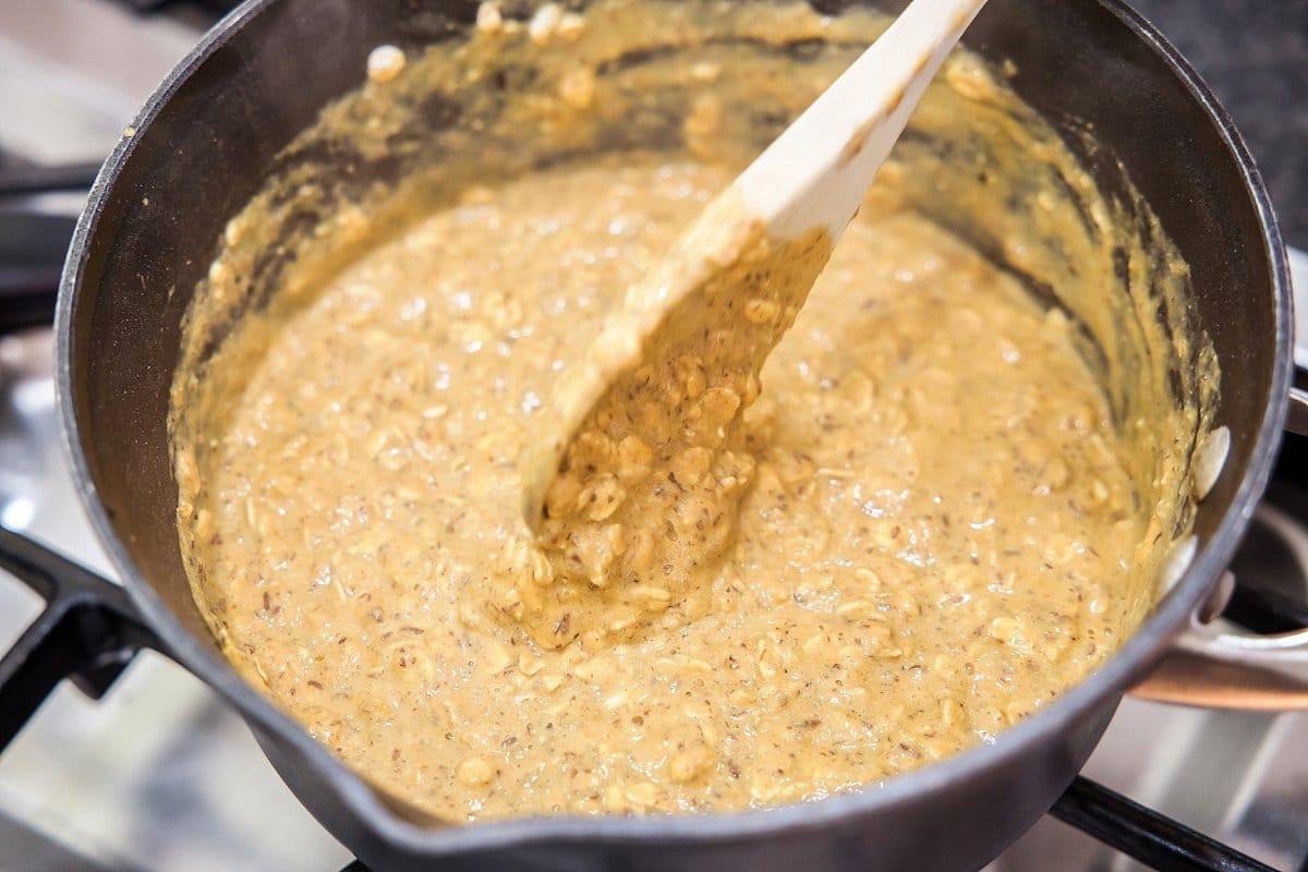Stirring pumpkin banana oatmeal.
