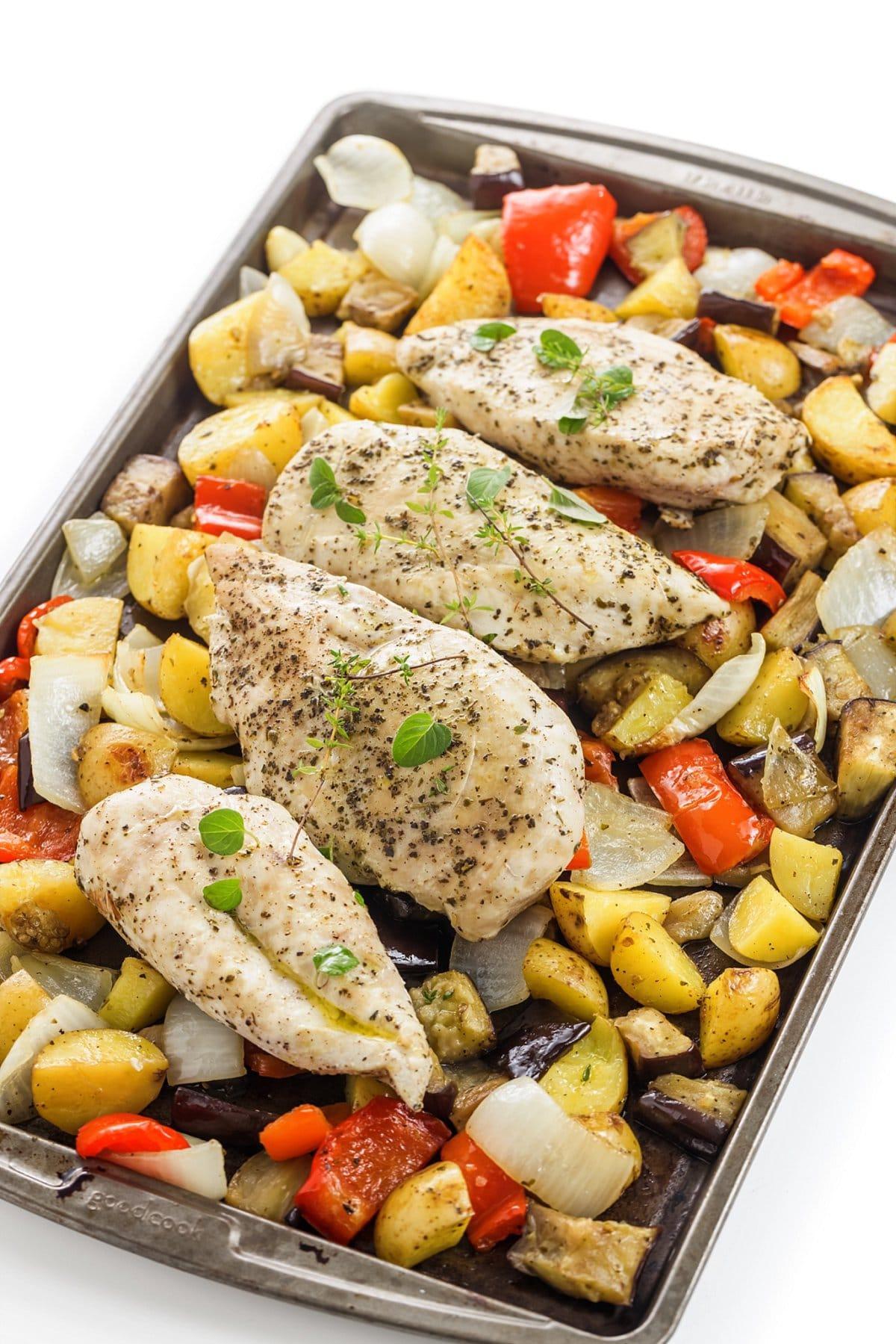 Sheet pan Greek chicken and vegetables.