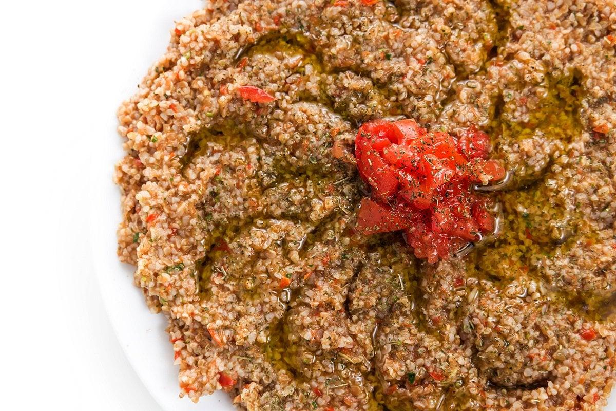 Vegan tomato kibbeh.