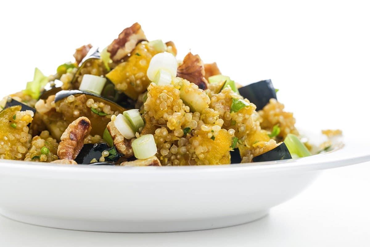 Quinoa salad with acorn squash and apples.